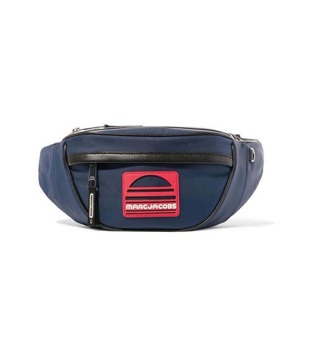 Logo-appliquéd Leather-trimmed Canvas Belt Bag