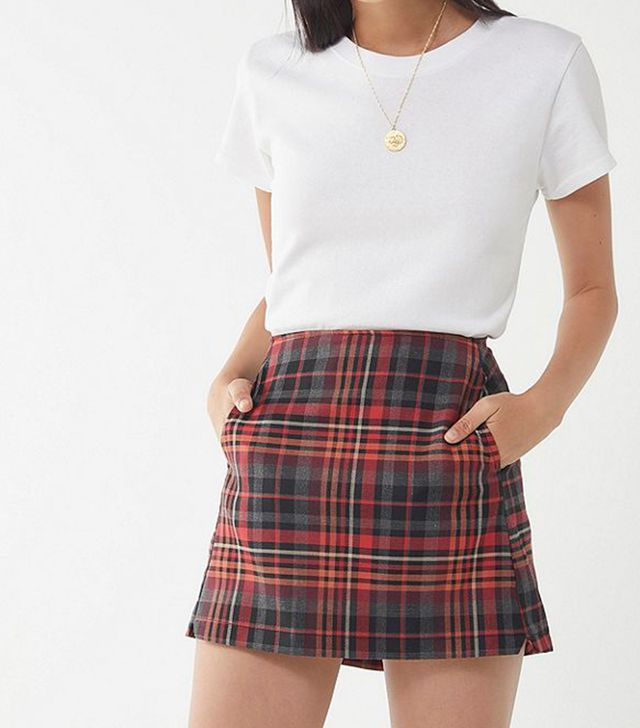 Urban Outfitters Red Checkered Pelmet Mini Skirt