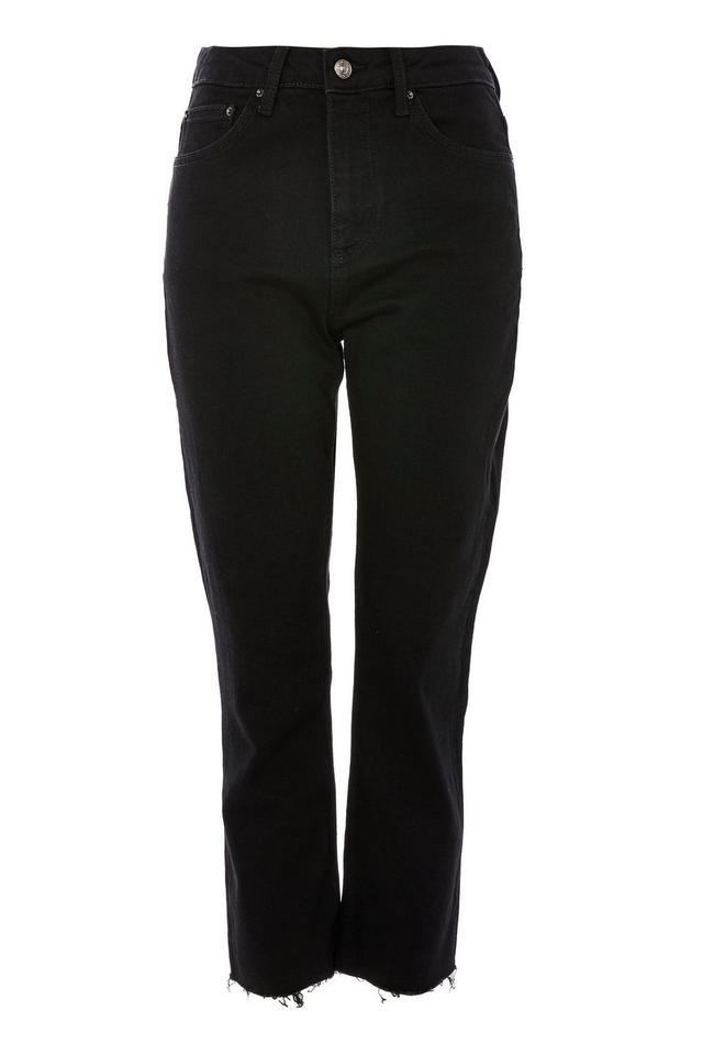 Topshop Black Raw Hem Cropped Jeans