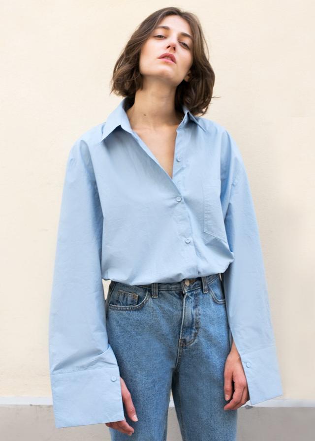 The Frankie Shop Sky Blue Crisp Boyfriend Shirt
