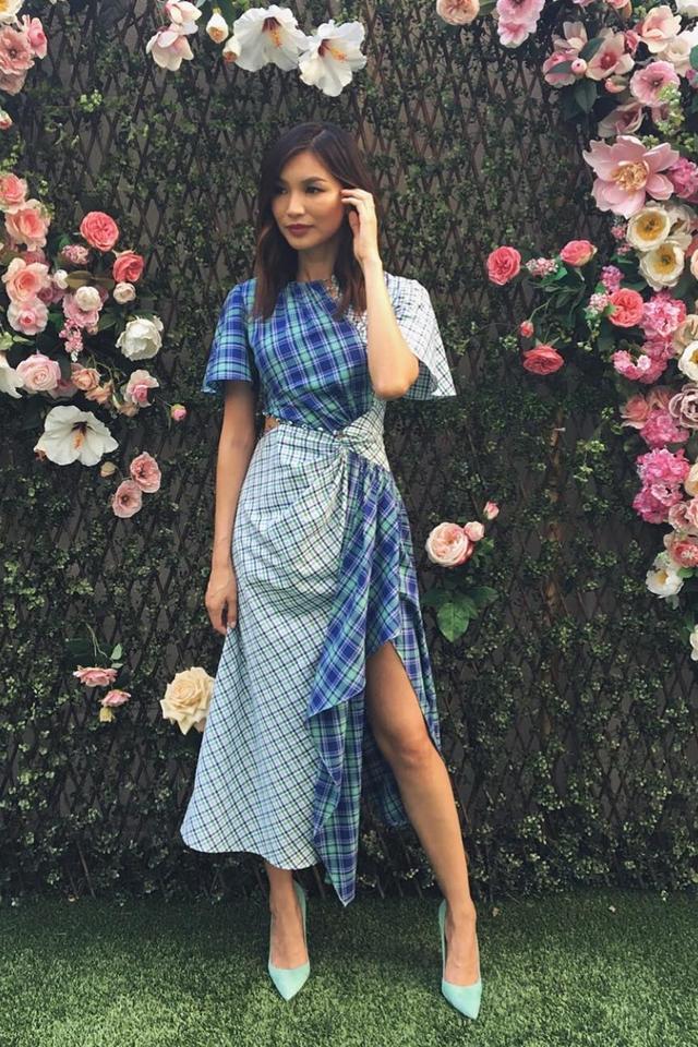 Stylish celebrities: Gemma Chan wears Prabal Gurung checked dress