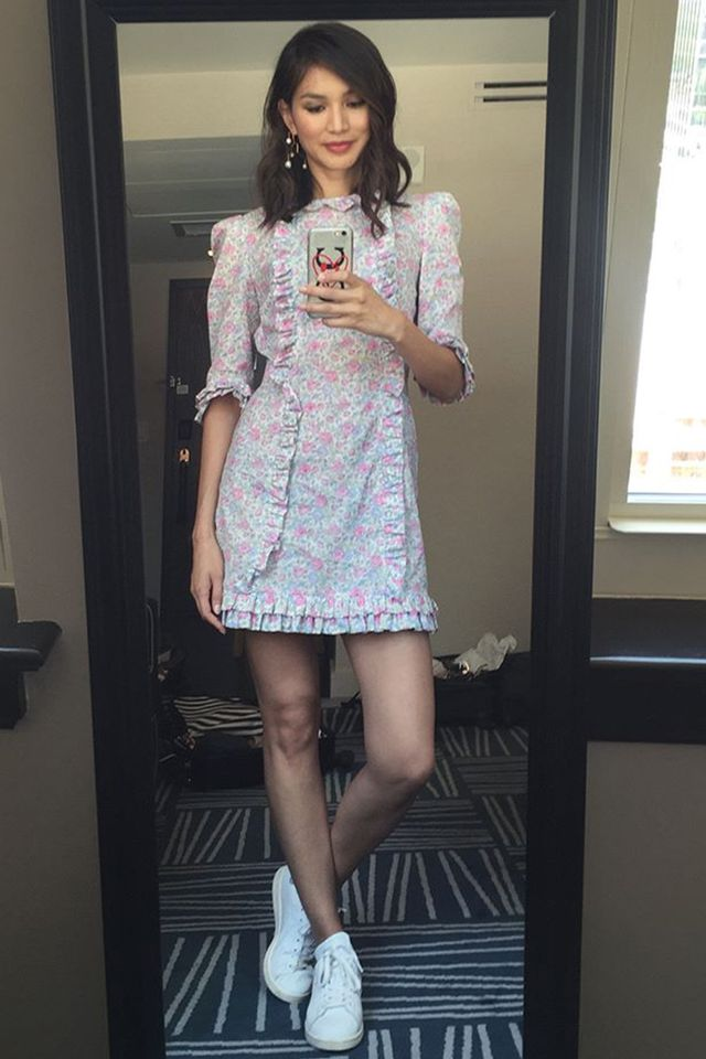 Stylish celebrities: Gemma Chan wears Vampire's Wife dress