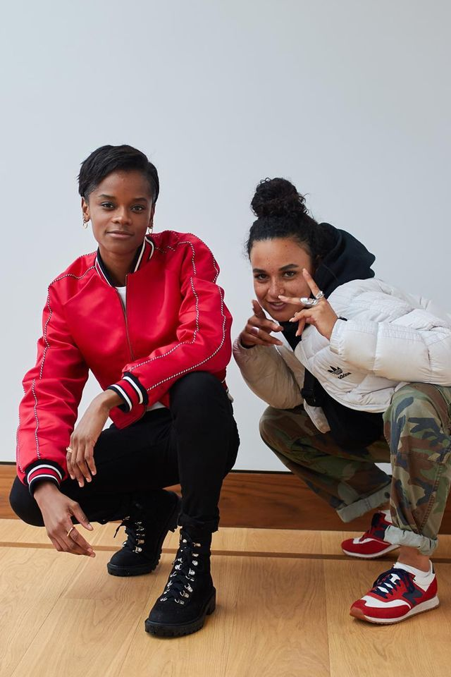 Stylish celebrities: Letitia Wright wears red bomber jacket and black jeans