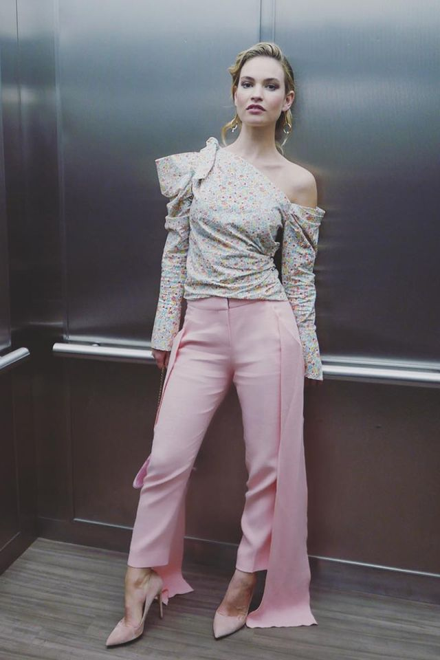 Stylish celebrities: Lily James wears Hellessy trousers and Anissa Kermiche earrings