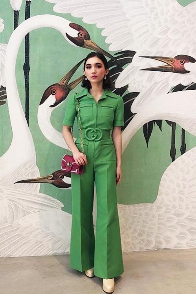 Stylish celebrities: Rowan Blanchard wears a Gucci jumpsuit