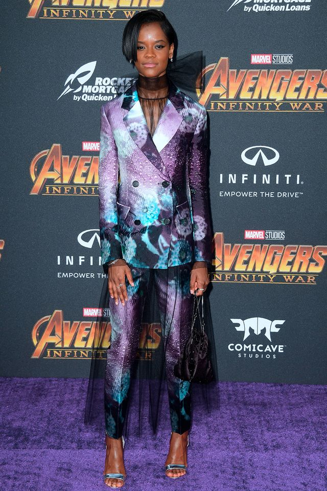 Stylish celebrities: Letitia Wright wears printed suit