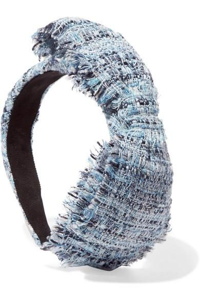 Misti Bow-Embellished Hemp-Blend Bouclé Headband