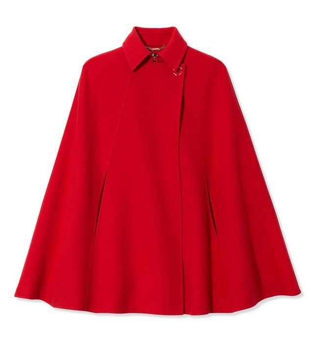 Red Sleeveless Wool Cape