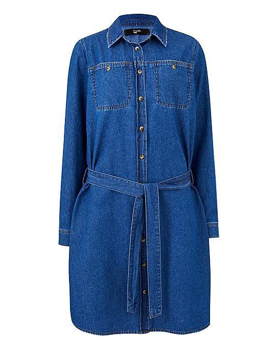 Simple Be Denim Midi Shirt Dress