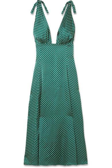 Polka-Dot Crepe de Chine Midi Dress