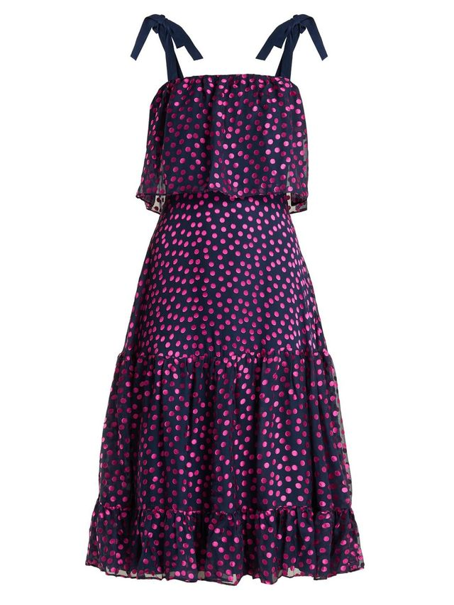 Jessie Polka-Dot Devoré Silk-Blend Dress