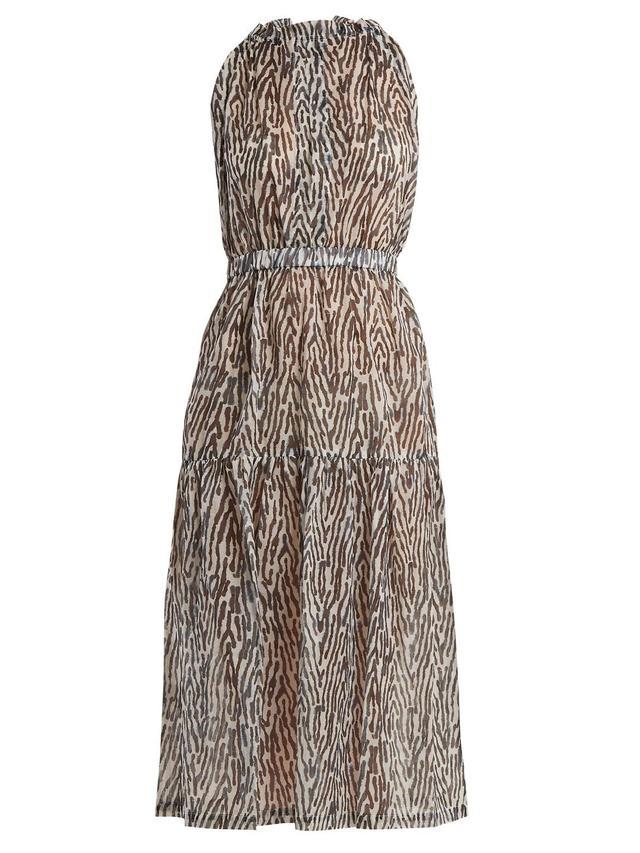 Terra Animal-Print Cotton-Voile Dress