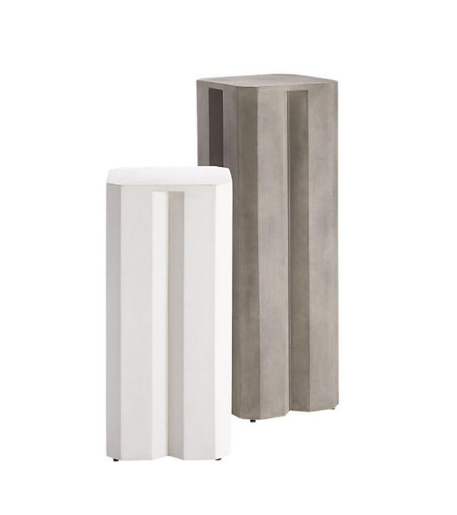CB2 Hex Cement Pedestal Tables