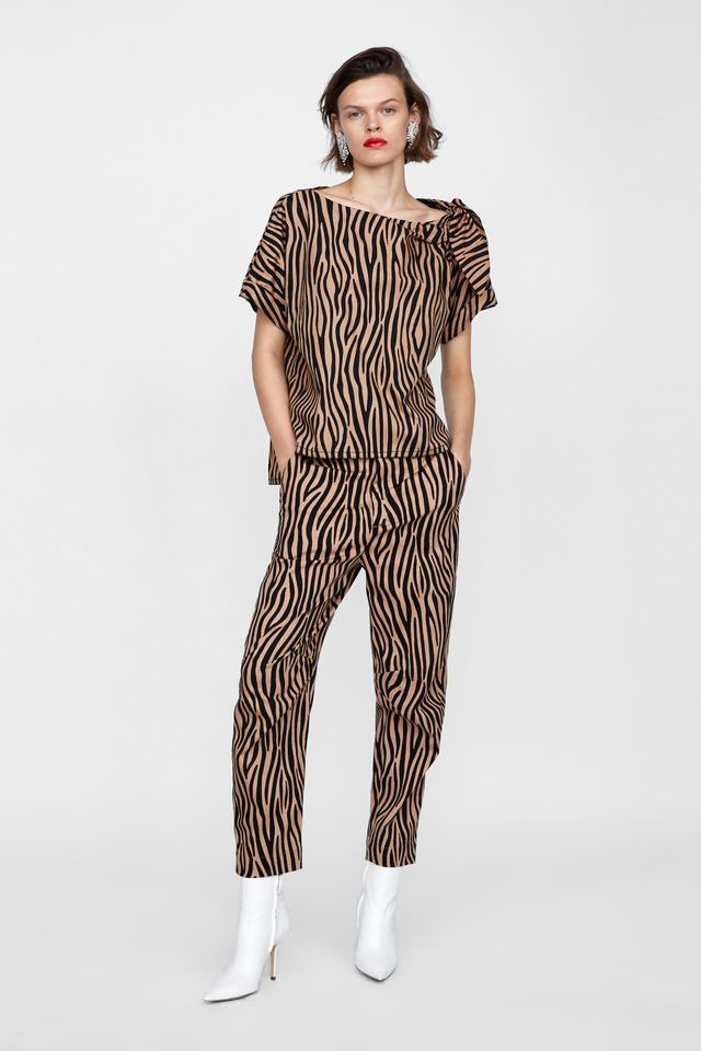 Zara Two-Tone Printed Pants