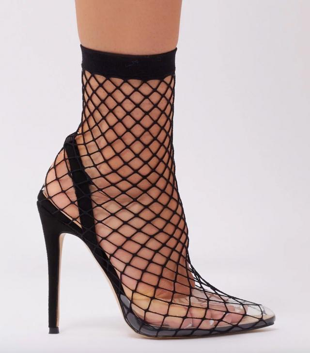 Public Desire Wink Clear Perspex Fishnet Heels