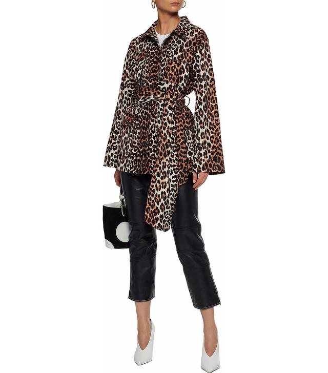 Ganni Leopard-Print Cotton-Twill Jacket