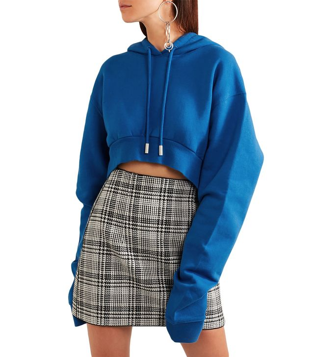 Off-White Cropped French Cotton-Terry Hooded Sweatshirt