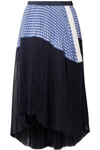 Piqué and Organza-Trimmed Striped Cotton-Poplin Skirt
