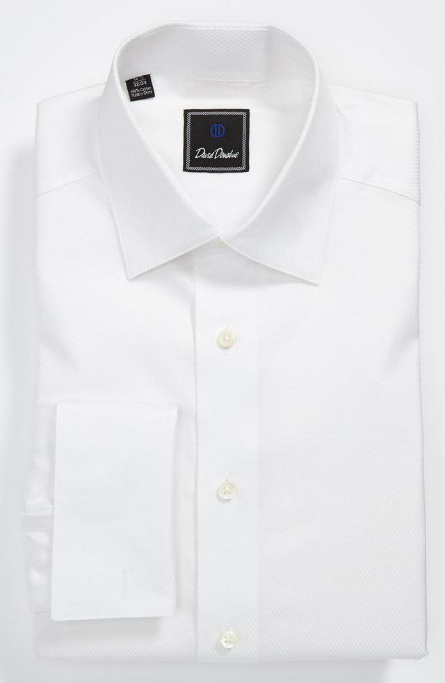 Regular Fit Solid French Cuff Tuxedo Shirt