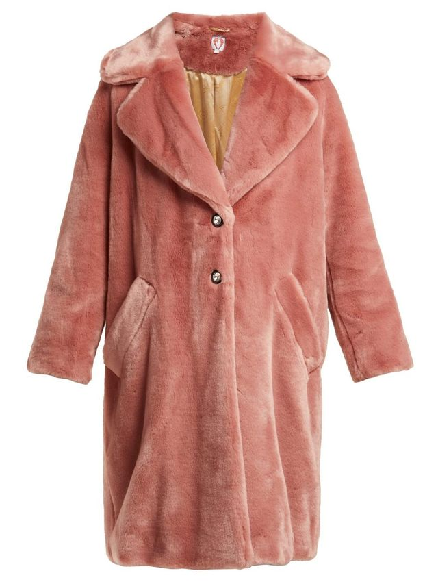Eamon Crystal-Buttoned Faux-Fur Coat
