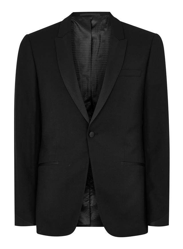 Topman Black Skinny Tuxedo Jacket With Satin Lapel