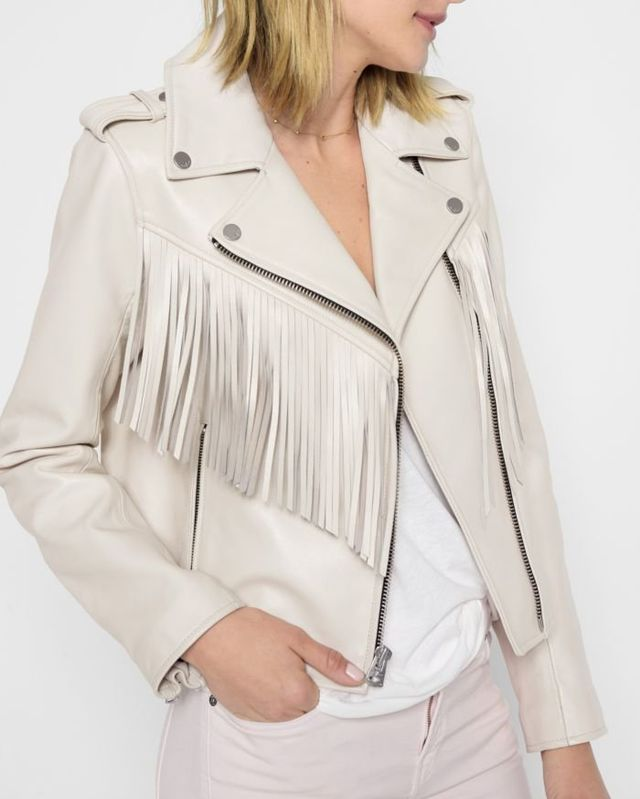7 for All Mankind Leather Moto Jacket With Fringe