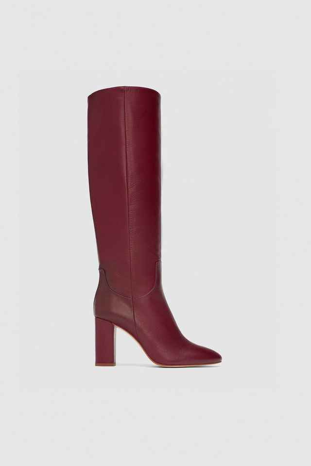 Zara High Heeled Leather Boots
