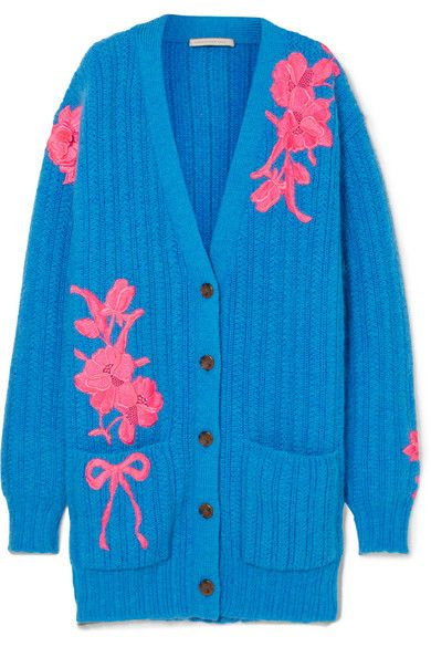 Oversized Embroidered Wool-Blend Cardigan