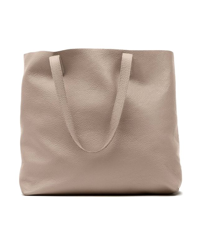 Cuyana Classic Leather Tote in Stone