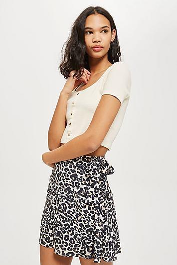 Leopard Print Flippy Mini Skirt