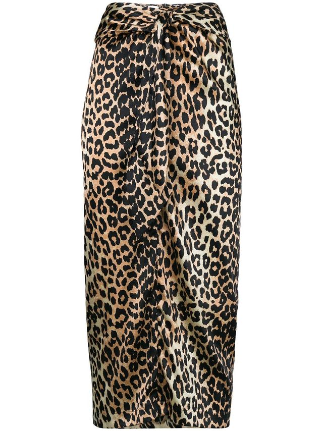 leopard print bow-detail skirt