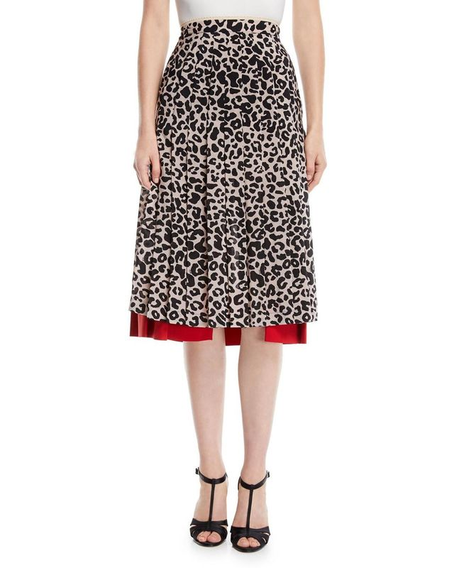Pleated Leopard-Print Draped Silk Midi Skirt