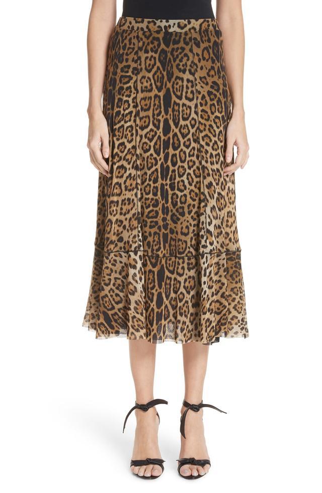 Fuzzi Leopard Print Tulle Midi Skirt