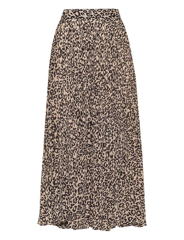Pixie Market Grey Leopard Pleated Skirt