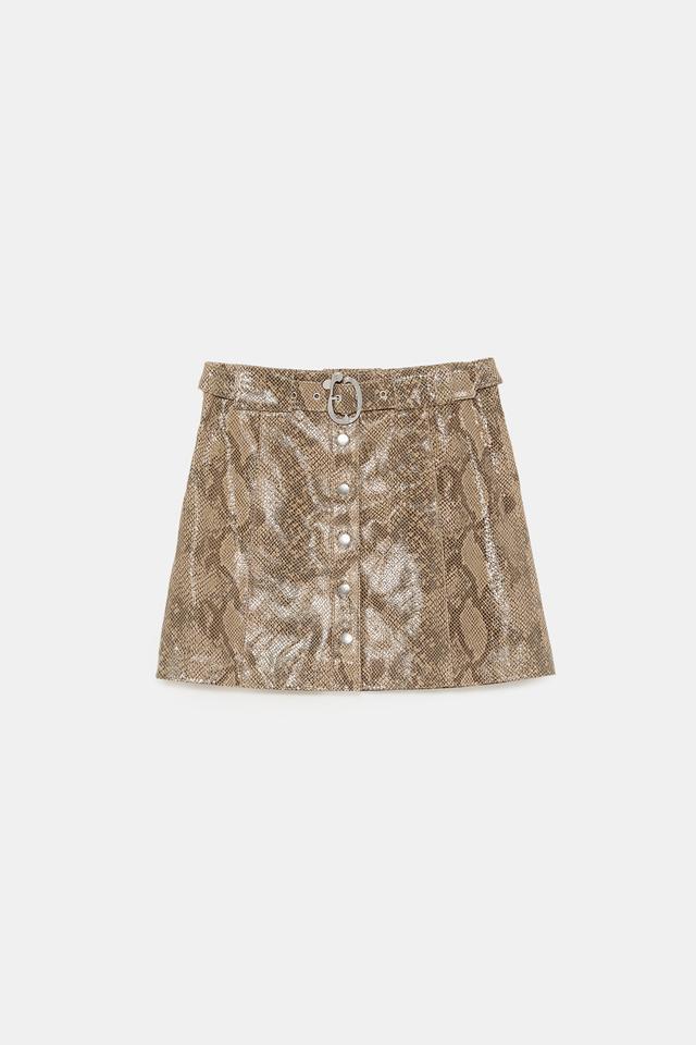 Zara Snakeskin Print Leather Mini Skirt