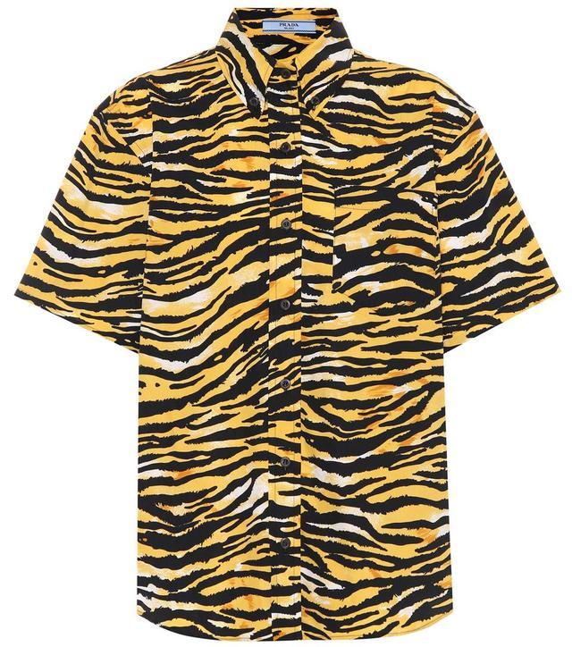 Tiger-printed cotton shirt