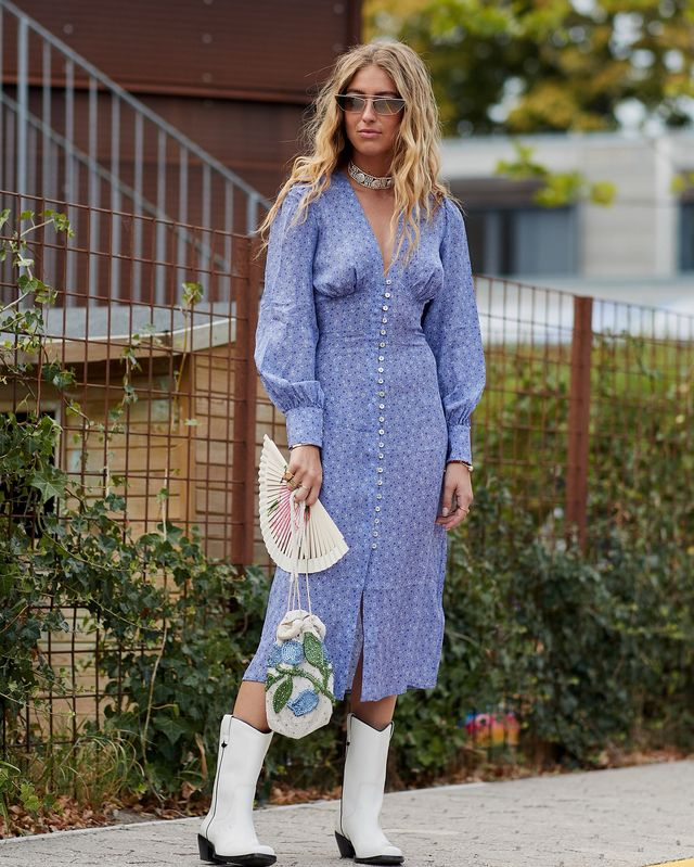 Best fall street style outfits: cowboy boots