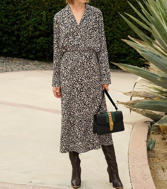 Pixie Market Rene Leopard Midi Skirt