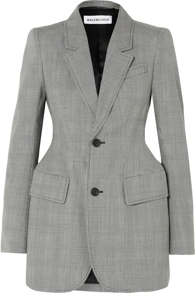 Hourglass Prince Of Wales Checked Wool-blend Blazer