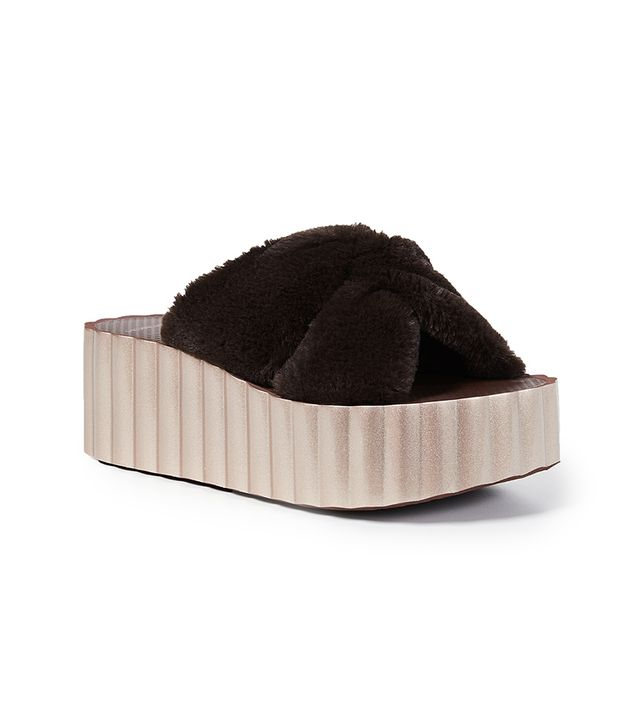 Faux Fur Scallop Slide Sandals