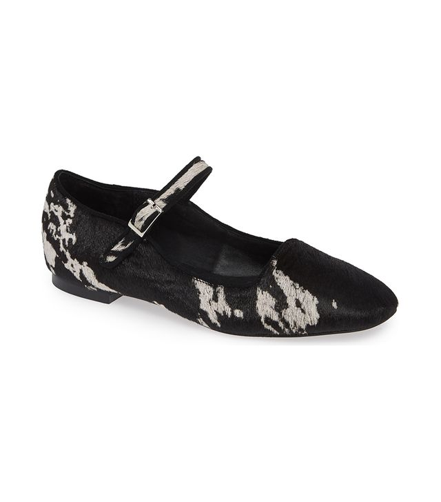 Genuine Calf Hair Mary Jane Flat