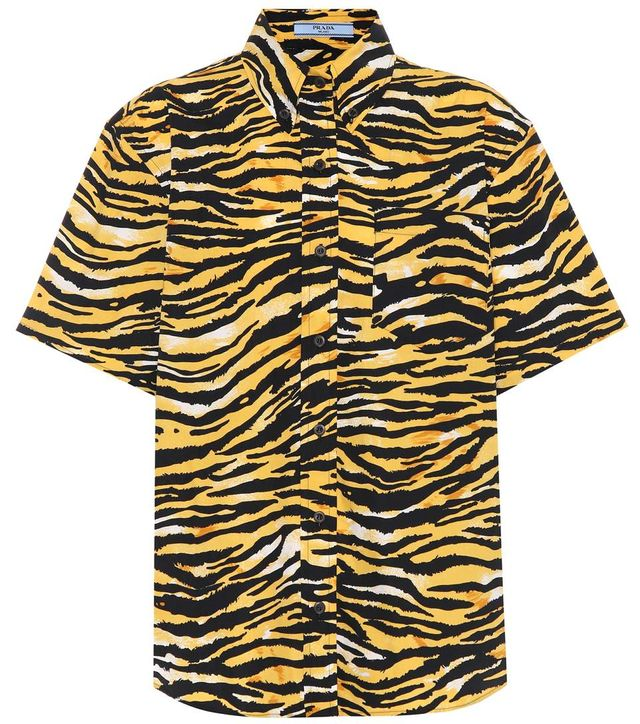 Tiger-printed cotton shirt