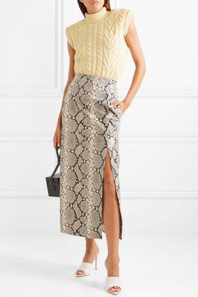 Snake-effect Leather Midi Skirt