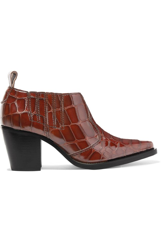 Nola Croc-effect Leather Ankle Boots