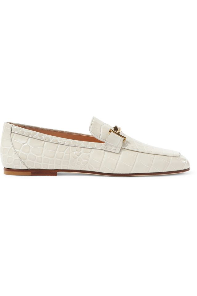 Embellished Croc-effect Leather Loafers