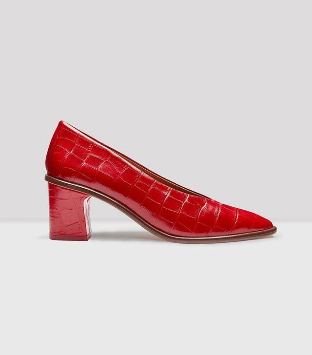 Miista Bernadette Red Croc Leather Mid-Heels