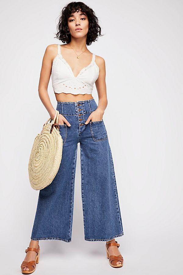Free People Wide Crop Jeans