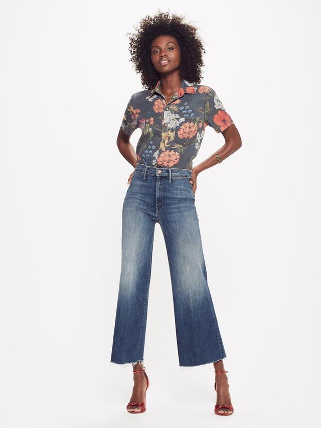 Mother Swooner Roller Crop Fray Jeans