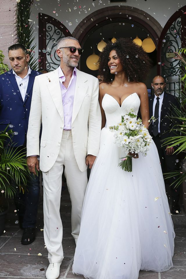 Tina Kunakey and Vincent Cassel wedding