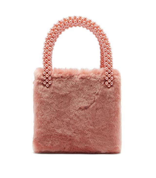 Una Faux Pearl-Embellished Faux-Fur Bag